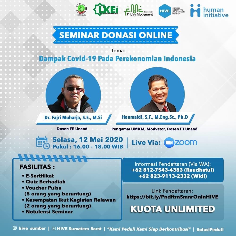Seminar Donasi Online Dampak Covid 19 Terhadap Perekonomian Indonesia Oleh Unand Via Zoom Meeting Pada 12 Mei 2020