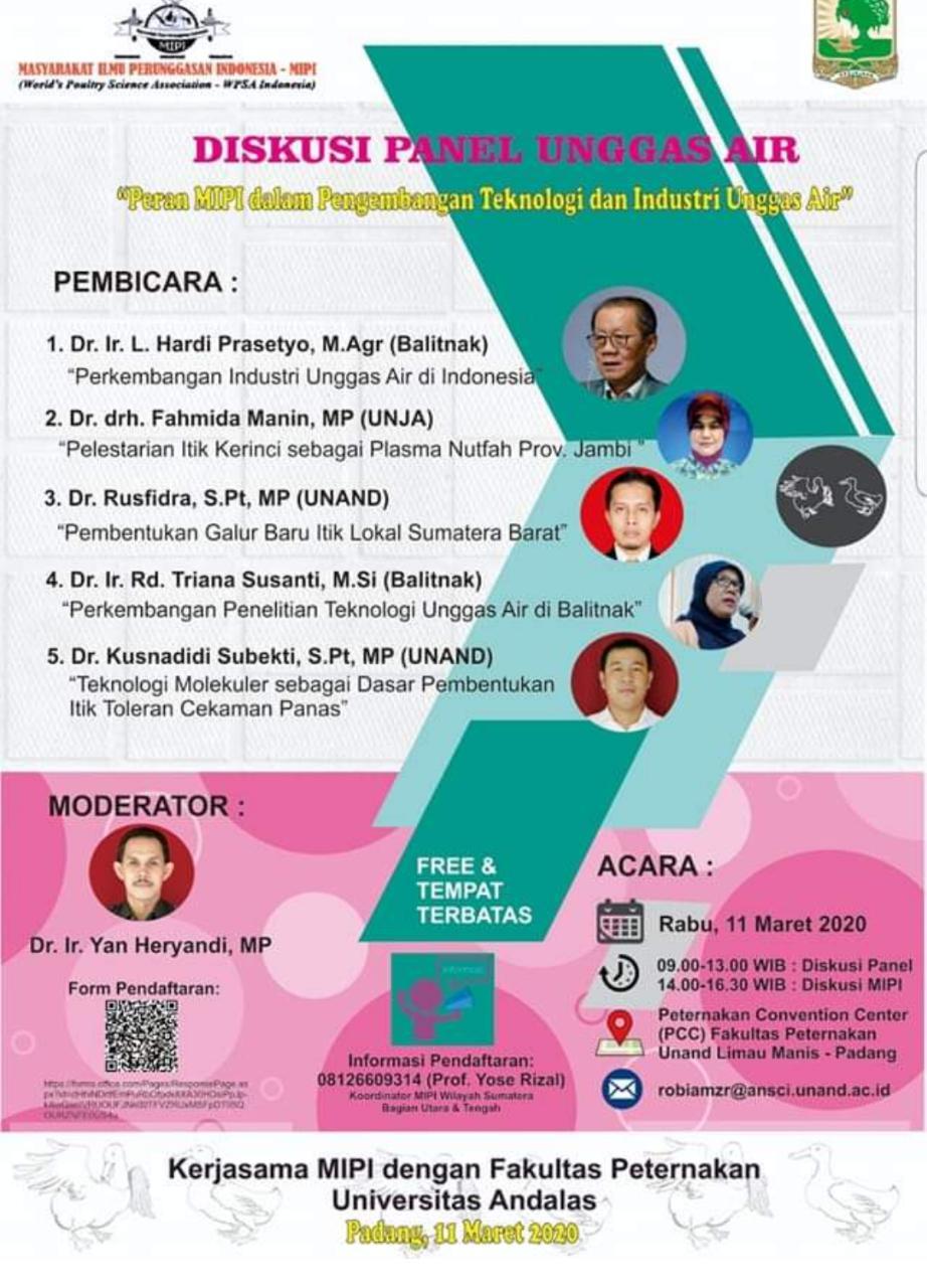 Diskusi Panel Unggas Air Oleh Faterna Unand Dan Mipi Di Pcc Fakultas Peternakan Pada 11 Maret 2020